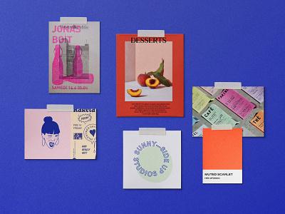 Feminist Teahouse Moodboard halftone silkscreen grunge punk zine blue indigo inspiration moodboard design branding