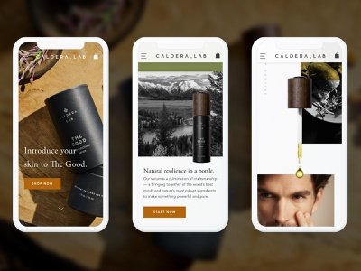 Caldera + Lab Mobile Homepage mobile ecommerce homepage design uxui design