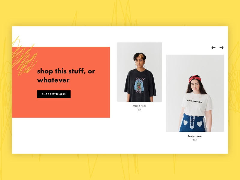 shop this stuff, or whatever bestsellers retail fashion illustration scribble grungy orange yellow carousel homepage uxui design branding design uxui ecommerce