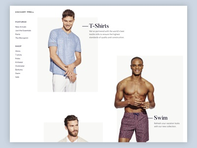 Zachary Prell Homepage collections swimwear minimal whitespace t-shirts shopify mens fashion editorial homepage typography branding design uxui ecommerce
