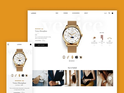 Watch Product Page product page upsell cta thumbnails ugc white space shop ecommmerce accessories fashion gold watch pdp