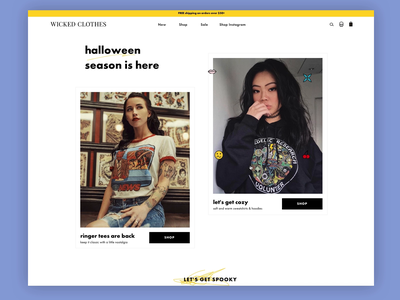 Wicked Clothes apparel women edgy wicked hover state scribble yellow ecommerce homepage fashion grungy branding design uxui animation