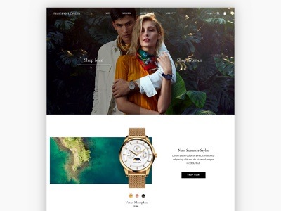 Watch Homepage watches shop now merchandise island jungle green tropical watch fashion uxui design homepage uxui design ecommerce