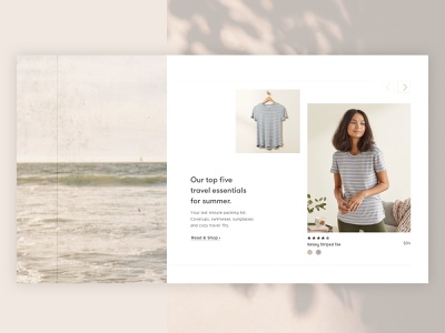 Shoppable Blog uxui homepage shopify website t shirt content design shoppable blog retail fashion shadows calm beach ocean warm ecommerce