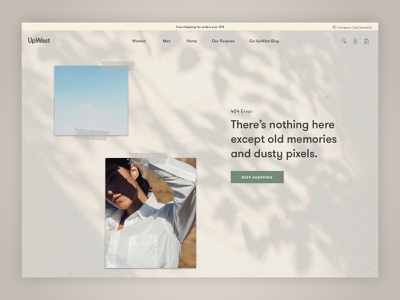 404 Page female white sky blue tan polaroid tape shadows fashion ui ux relaxed calm photography error page ecommerce error 404