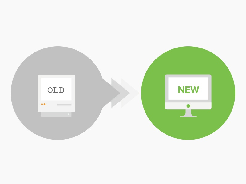 Old < New computer technology old new upgrade mendix illustration icon macintosh imac