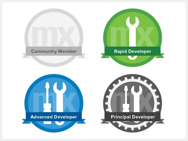 Mendix Certification Badge Concepts mendix developer illustration icons branding visuals badges rewards