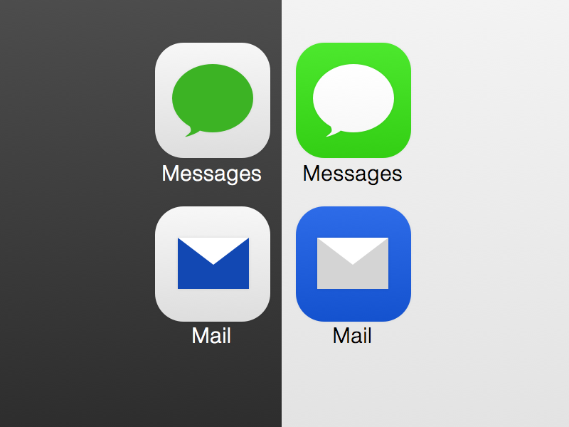 Bold Seven  ios ios7 icons design ui buttons blue green mail messages