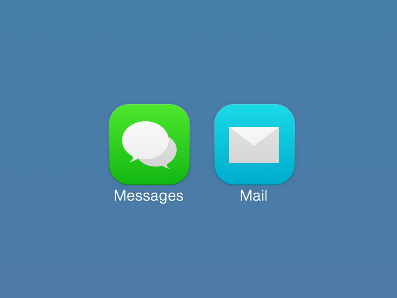 Subtle Seven ios ios7 icons design ui buttons blue green mail messages