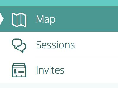Map Sessions Invites ios 7 ui ios app teal menu iphone open sans dropdown navigation slide