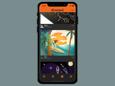 Dribbbel iphone dribbble orange app ios