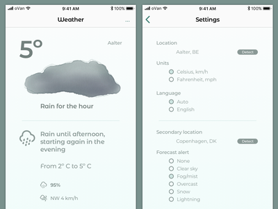 Weather Essentials 004 watercolor settings weather minimal iphone ios teal app