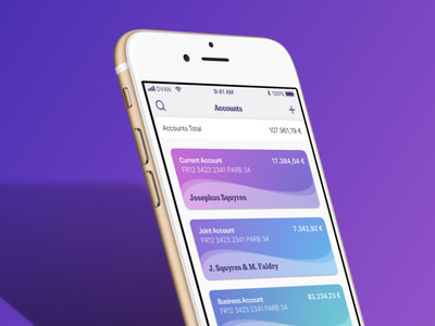 Bank - Accounts Overview mockup gradient sketch dashboard bank