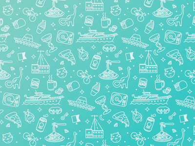 Icon Pattern 1 vector illustration bikes tacos records beer whiskey pizza cat margarita pattern icons