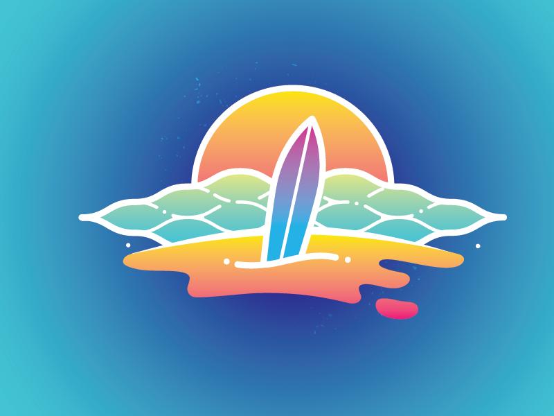 Summer Vibes vector illustration sunshine surfing gradients