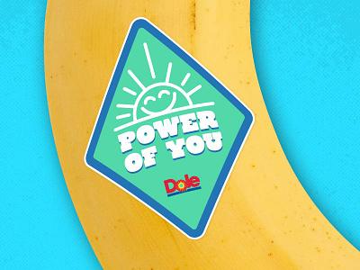 Dole bannana sticker concept banana fruit sun branding typography illustration vectors stickers
