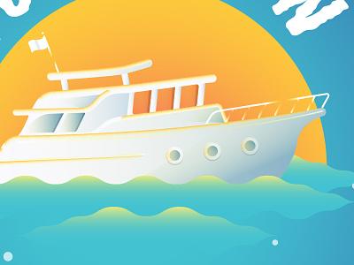 Turn It On waves gradients illustration yacht