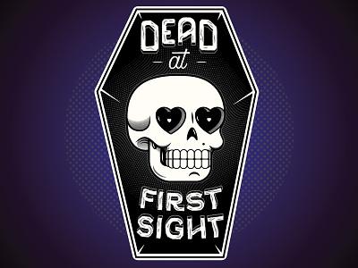 Dead at First Sight texture halftone vector custom type coffins hearts skulls