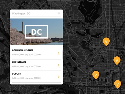 Location Component Concept pin location page typography dark theme maps location ui