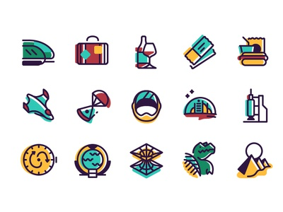 Travel Icons travel icons space space helmet dinosaur thick lines illustration vectors