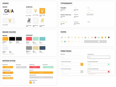 Cava Design System color palette iconography form field button states buttons ui  ux design systems designsystem ui components ui typography ux