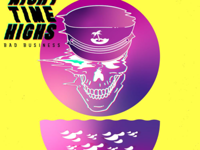 Night Time Highs -Album Cover sunset waves cyberpunk tropical neon vector gradients glitch skull skulls