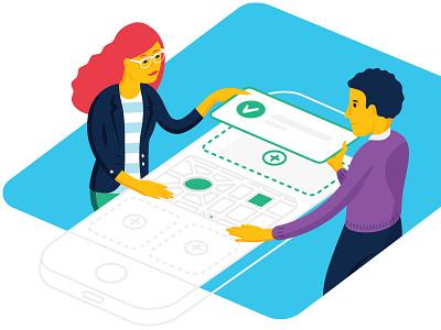 Hatch Apps Hero Illustration isometric art app branding iphone vectors illustration