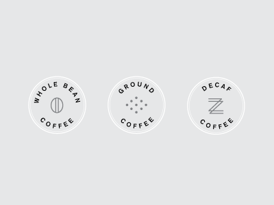 Whipped Up A Few Minimal Icons To Represent Different Types Of Coffee For Client Whole Bean Ground And Decaf