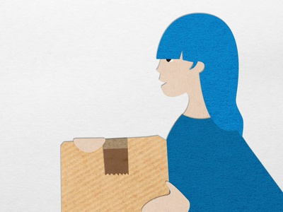 Customer with parcel paper illustration