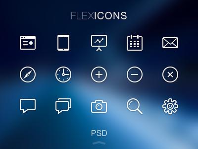 FlexIcons Free PSD flexicons icons icon flat ui free freebie psd