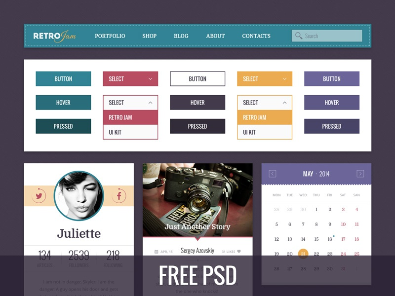 Retro Jam Ui Kit Free blog psd freebie ui interface web kit profile retro webdesign menu calendar
