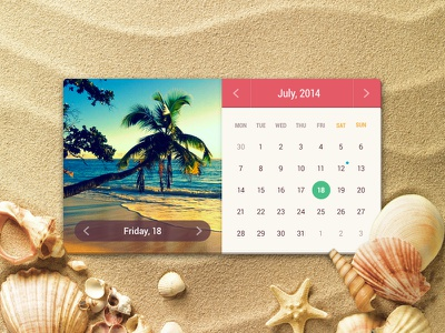 Summer Calendar calendar summer colorful sand sunny ui ui kit interface