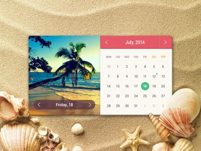 Summer Calendar calendar summer colorful sand sunny ui ui kit interface