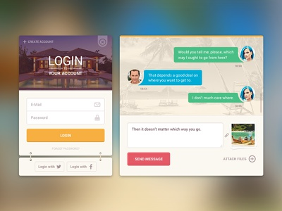 Login & Chat ui ui kit interface login chat messages colorful summer widgets