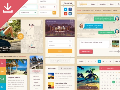 Summer Ui Kit Free ui ui kit interface user interface calendar menu login flat free freebie psd