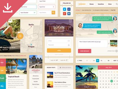 Summer Ui Kit Free ui ui kit interface user interface calendar menu login flat free freebie psd