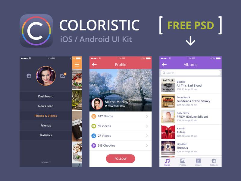 Coloristic: Free PSD Sample ui ui kit interface ios android mobile menu profile music free freebie psd