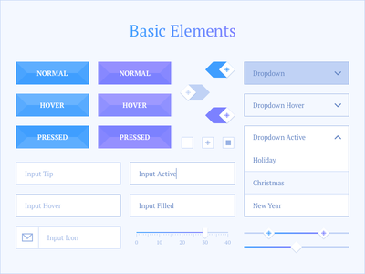 Basic Elements ui ui kit interface winter snowflake button input dropdown select slider toggle checkbox