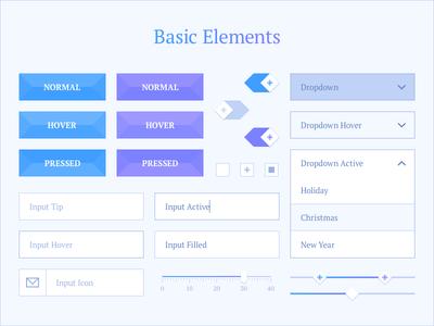 Basic Elements ui ui kit interface winter snowflake button input dropdown select slider toggle checkbox
