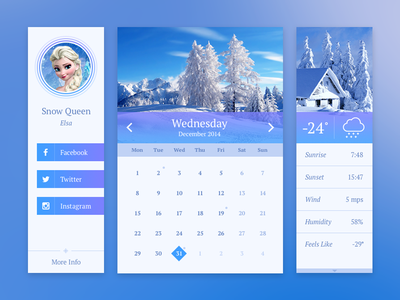 Winter Widgets ui ui kit interface winter user card calendar weather snow widget