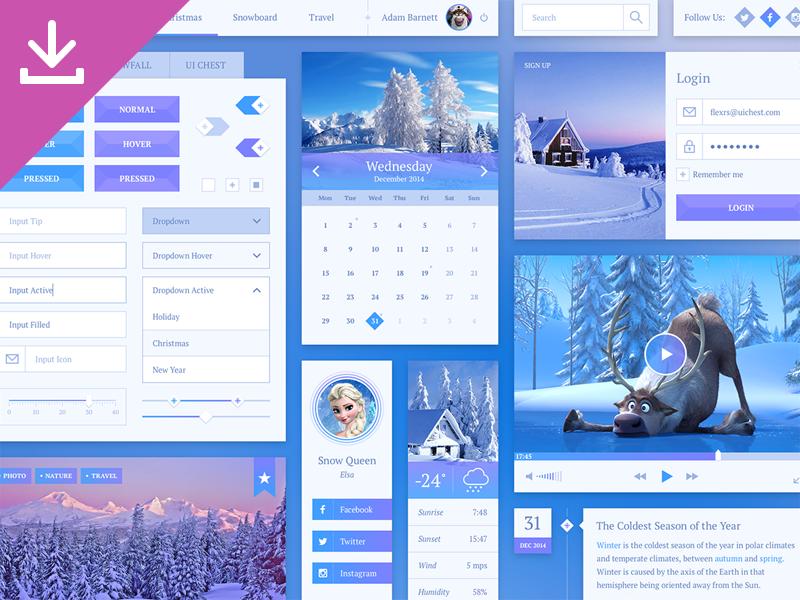 Snowflake UI Kit ui interface ui kit photoshop psd free freebie sketch sketchapp winter