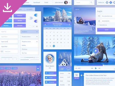 Snowflake UI Kit ui interface ui kit photoshop psd free freebie sketch sketchapp winter