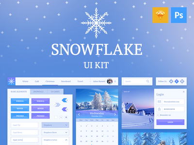 Snowflake UI Kit Presentation photoshop interface menu sketch buttons free login ui calendar graph psd freebie