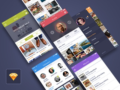 Coloristic UI Kit for Sketch iphone ui interface mobile ios android sketch photoshop psd free freebie