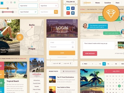 Summer UI Kit for Sketch (Freebie) calendar travel chat login psd freebie free sketch ui kit ui