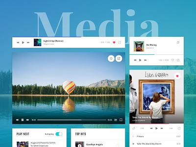 Magic Stone: Media music audio player video player player media presentation sketch ui kit ui