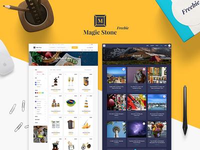 Magic Stone Freebie mockup blog ecommerce photoshop sketch freebie free ui kit ui