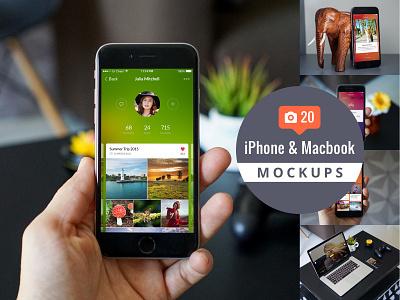 20 iPhone & Macbook Mockups photoshop sketch presentation macbook iphone mockup