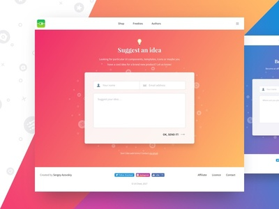 Suggest & Affiliate Pages for UI Chest gradient colorful contact form webdesign animation