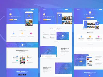AppStarter UI Kit for Sketch blue landing sketch app user interface ui kit ui